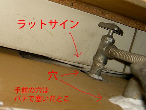 台所の流し奥の水道やガス栓が通ってるところ